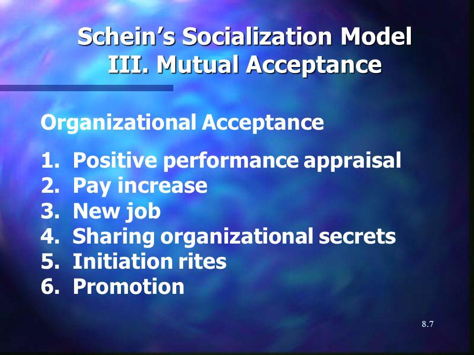 8.7 Scheins Socialization Model III. Mutual Acceptance Organizational Acceptance 1. Positive performance appraisal 2. Pay increase 3. New job 4. Shari