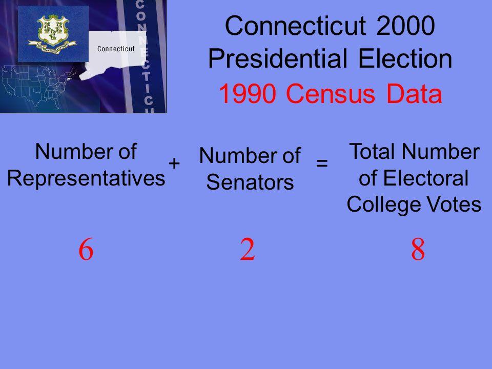 Connecticut 2004 Presidential Election Number of Representatives + Number of Senators = Total Number of Electoral College Votes 527 2000 Census Data