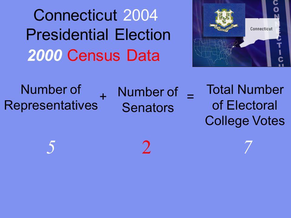 Georgia 2000 Presidential Election Number of Representatives + Number of Senators = Total Number of Electoral College Votes 11213 1990 Census Data