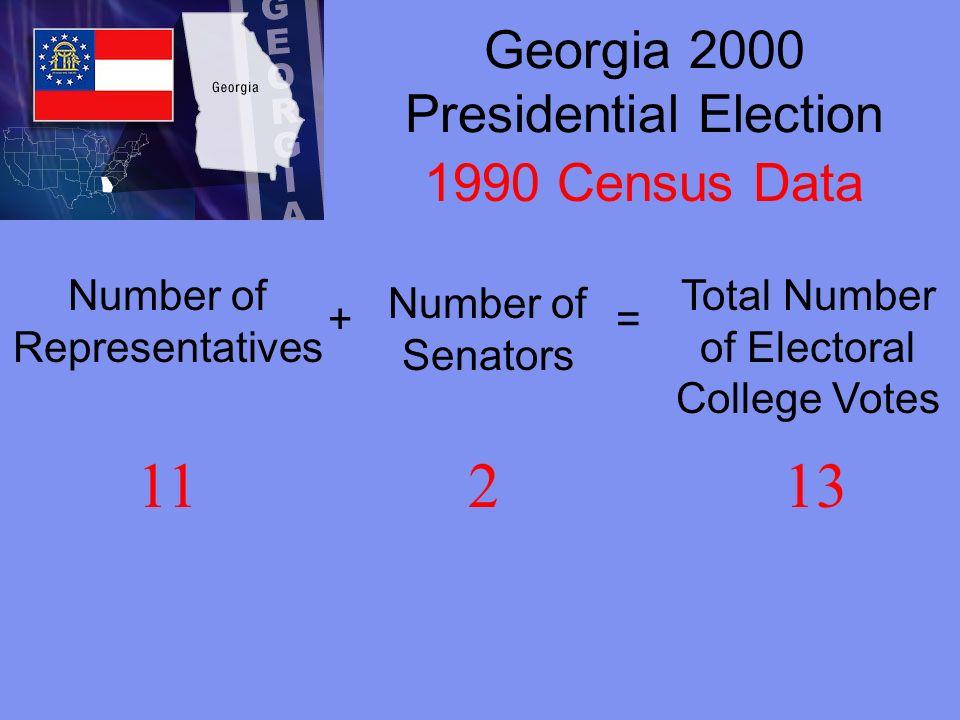 Georgia 2004 Presidential Election Number of Representatives + Number of Senators = Total Number of Electoral College Votes 13215 2000 Census Data