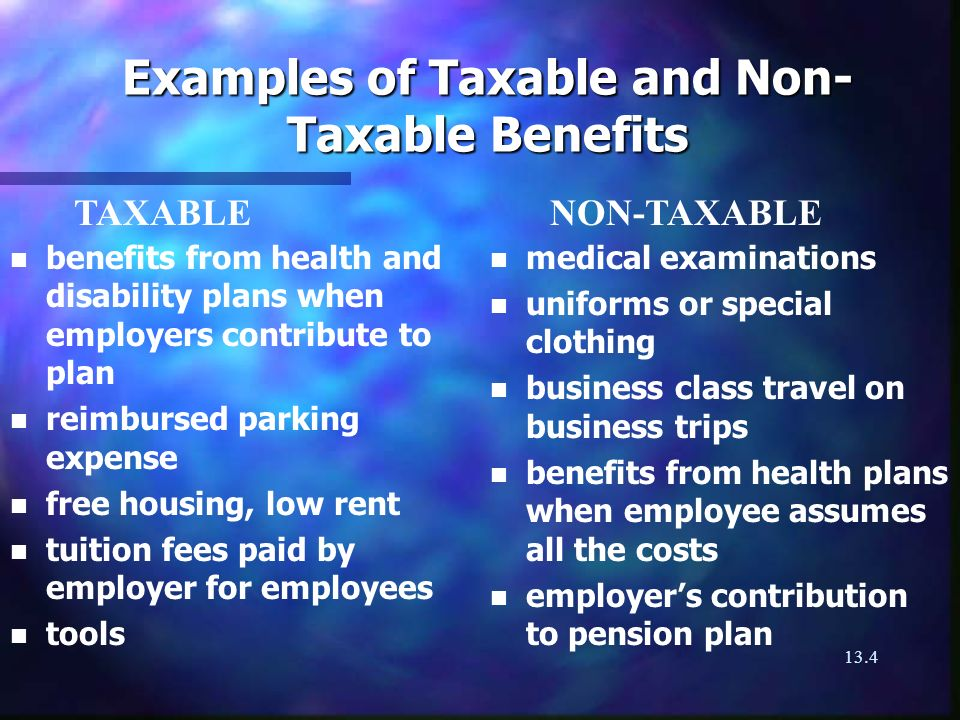 13.4 Examples of Taxable and Non- Taxable Benefits n n benefits from health and disability plans when employers contribute to plan n n reimbursed parking expense n n free housing, low rent n n tuition fees paid by employer for employees n n tools n medical examinations n uniforms or special clothing n business class travel on business trips n benefits from health plans when employee assumes all the costs n employers contribution to pension plan TAXABLE NON-TAXABLE