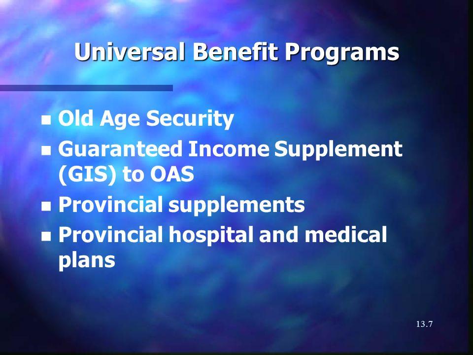 13.8 Statutory Benefits n n Canada and Quebec Pension Plan n n Workers Compensation n n Employment Insurance n n Supplementary Coverage