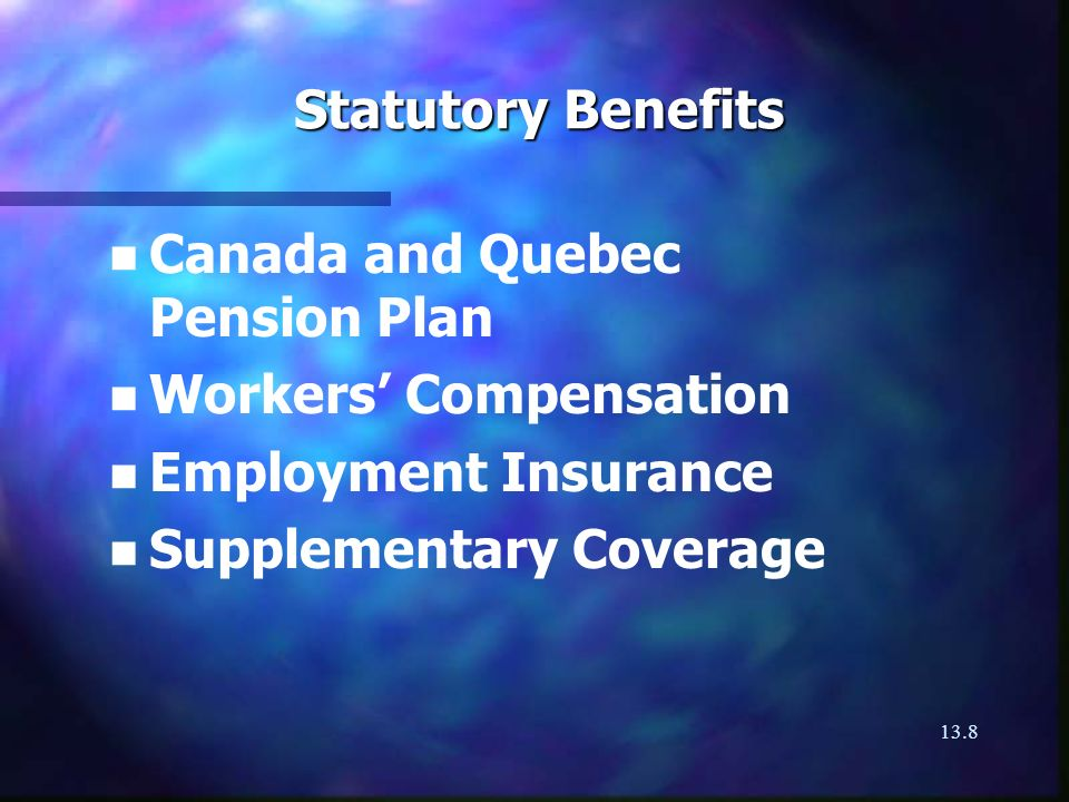 13.9 Discretionary Benefits for Employee Protection n Private pension plans n Group insurance programs - group life insurance - group disability insurance - group health insurance n Profit-sharing plans
