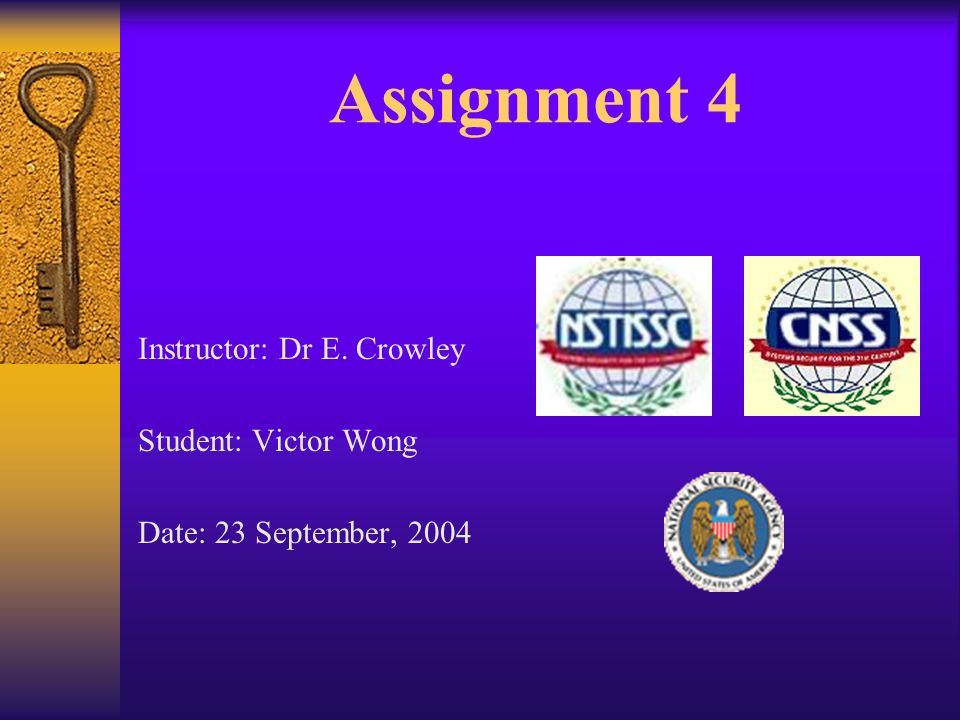 Assignment 4 Instructor: Dr E. Crowley Student: Victor Wong Date: 23 September, 2004