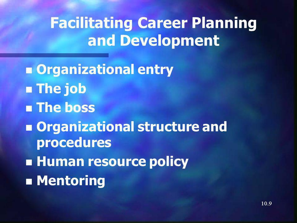 10.9 Facilitating Career Planning and Development n n Organizational entry n n The job n n The boss n n Organizational structure and procedures n n Human resource policy n n Mentoring