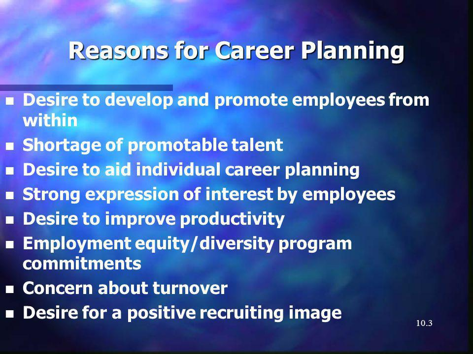 10.3 Reasons for Career Planning n n Desire to develop and promote employees from within n n Shortage of promotable talent n n Desire to aid individual career planning n n Strong expression of interest by employees n n Desire to improve productivity n n Employment equity/diversity program commitments n n Concern about turnover n n Desire for a positive recruiting image