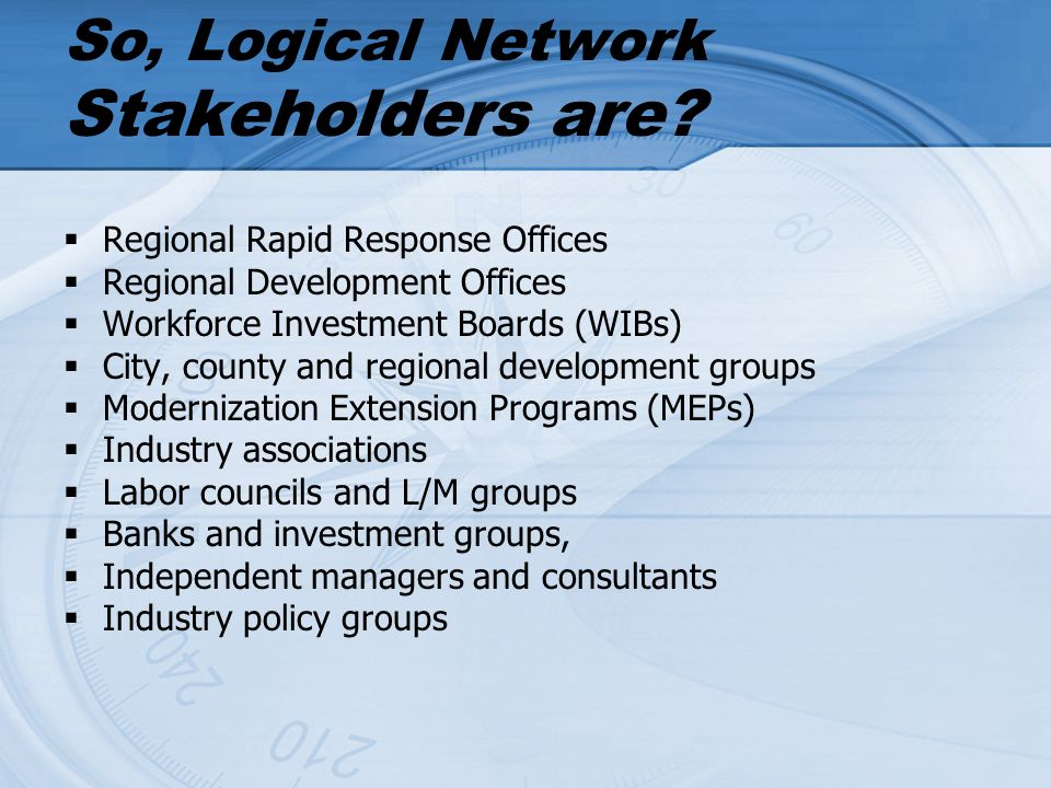 So, Logical Network Stakeholders are.