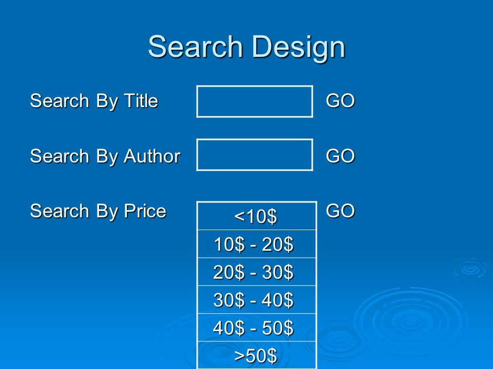 Search Design Search By Title GO Search By AuthorGO Search By PriceGO <10$ <10$ 10$ - 20$ 10$ - 20$ 20$ - 30$ 20$ - 30$ 30$ - 40$ 30$ - 40$ 40$ - 50$ 40$ - 50$ >50$ >50$