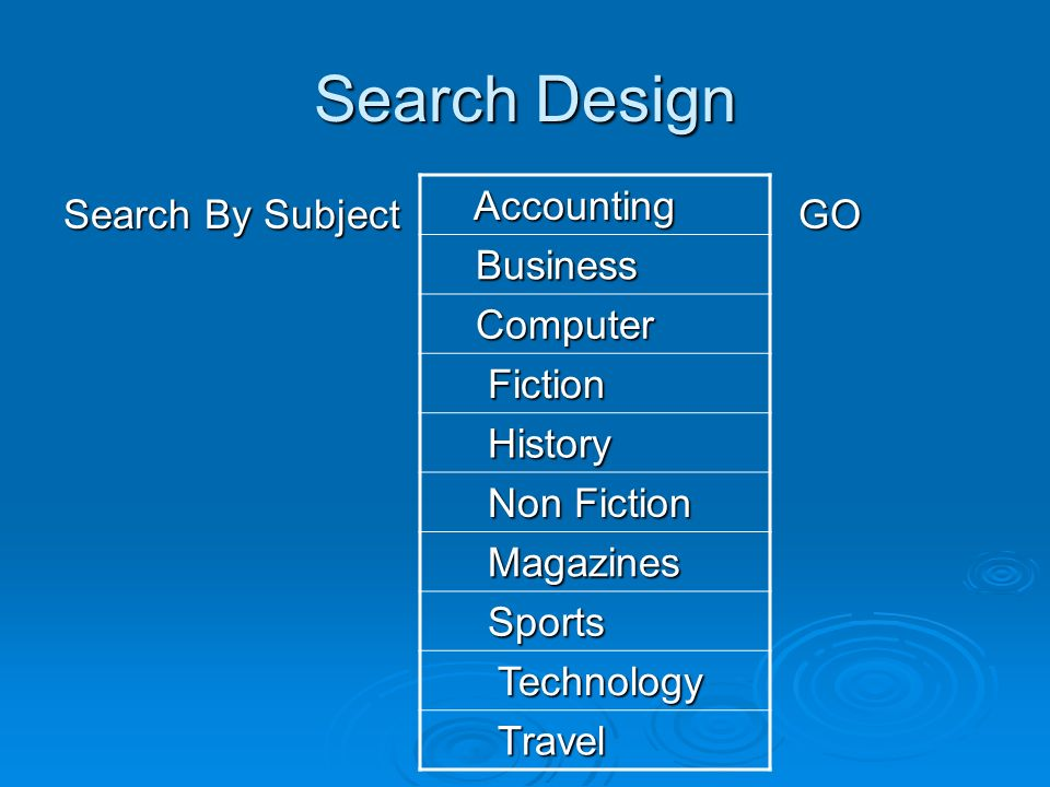 Search Design Search By Subject GO Accounting Accounting Business Business Computer Computer Fiction Fiction History History Non Fiction Non Fiction Magazines Magazines Sports Sports Technology Technology Travel Travel