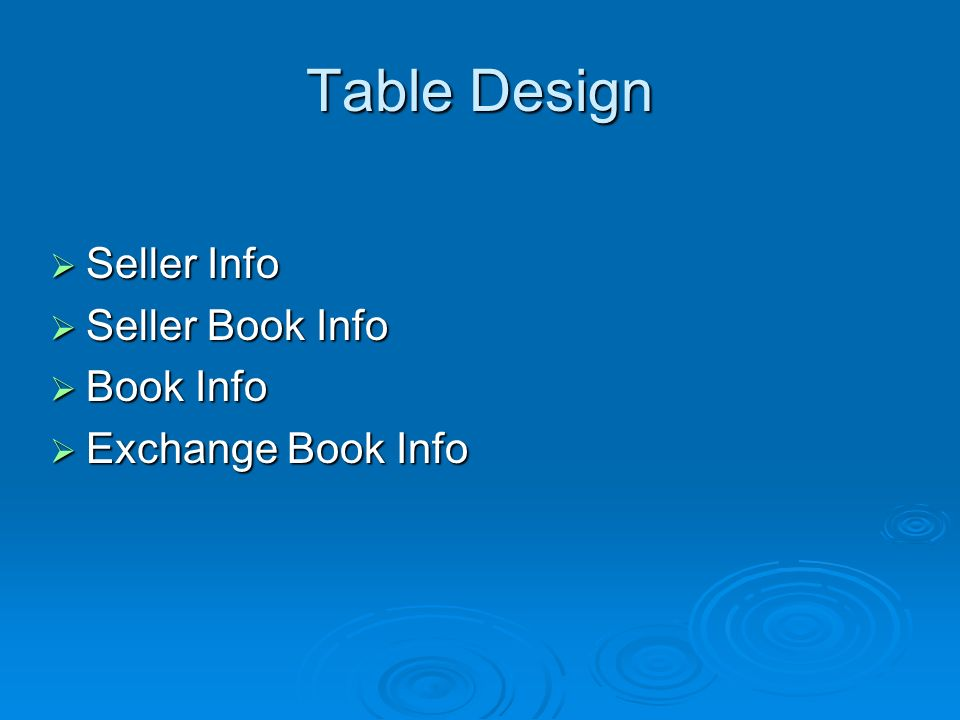 Table Design Seller Info Seller Info Seller Book Info Seller Book Info Book Info Book Info Exchange Book Info Exchange Book Info