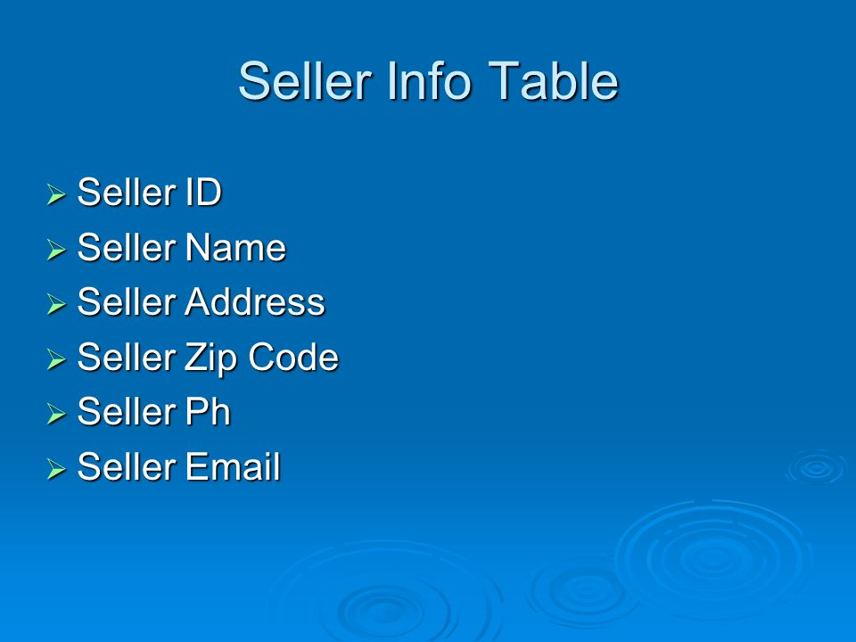Seller Info Table Seller ID Seller ID Seller Name Seller Name Seller Address Seller Address Seller Zip Code Seller Zip Code Seller Ph Seller Ph Seller