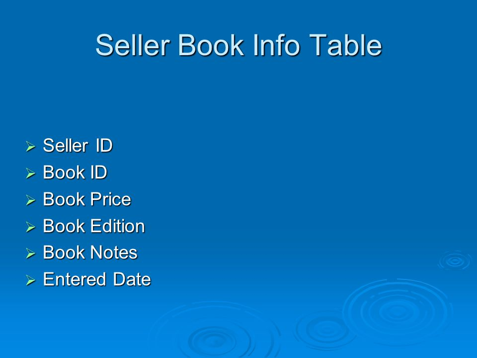 Seller Book Info Table Seller ID Seller ID Book ID Book ID Book Price Book Price Book Edition Book Edition Book Notes Book Notes Entered Date Entered Date