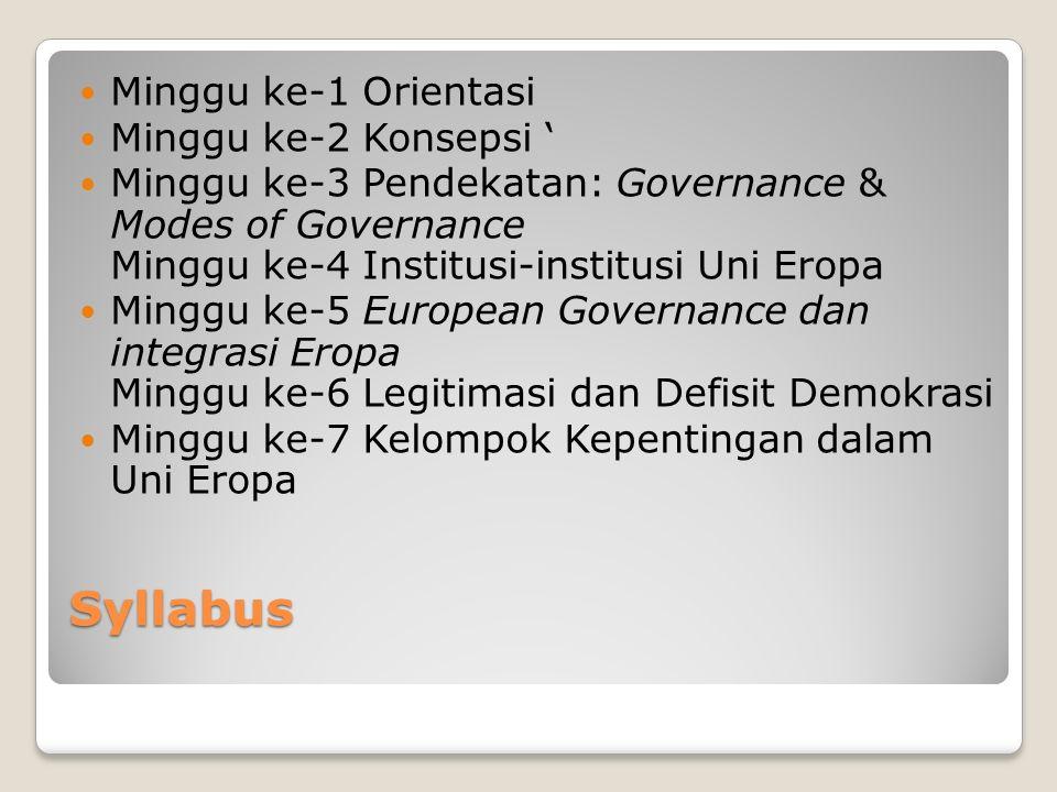 Syllabus Minggu ke-1 Orientasi Minggu ke-2 Konsepsi Minggu ke-3 Pendekatan: Governance & Modes of Governance Minggu ke-4 Institusi-institusi Uni Eropa