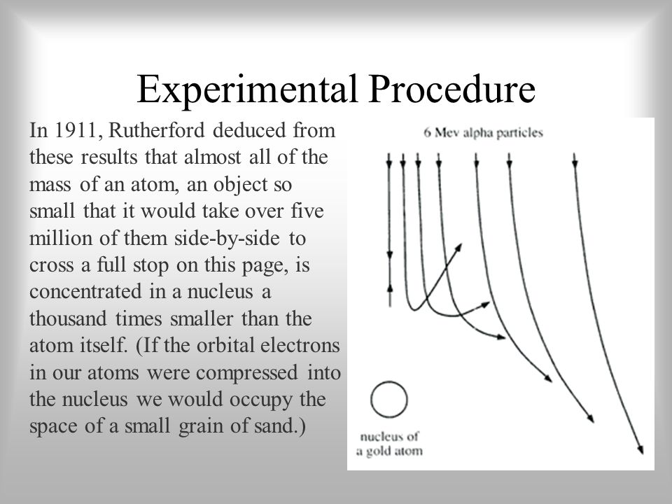 Experimental Procedure In 1911, Rutherford deduced from these results that almost all of the mass of an atom, an object so small that it would take ov