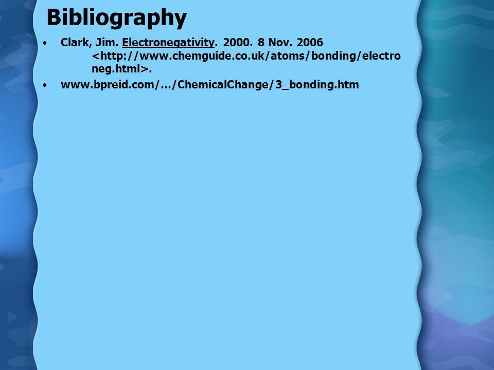 Bibliography Clark, Jim. Electronegativity. 2000.