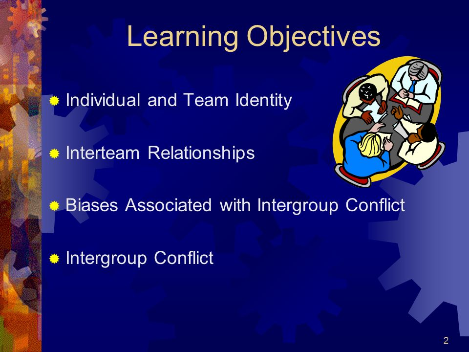 2 Learning Objectives Individual and Team Identity Interteam Relationships Biases Associated with Intergroup Conflict Intergroup Conflict