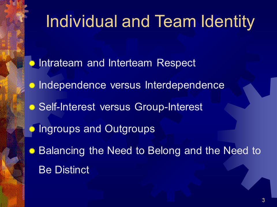 3 Individual and Team Identity Intrateam and Interteam Respect Independence versus Interdependence Self-Interest versus Group-Interest Ingroups and Ou