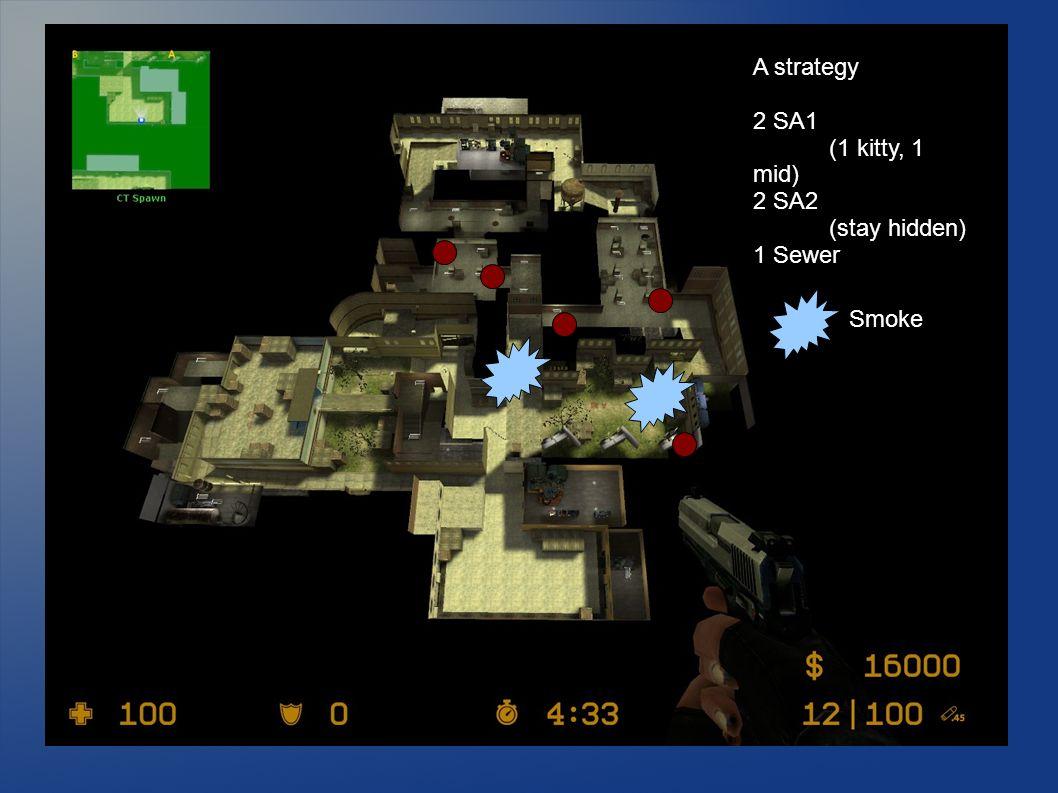 A strategy 2 SA1 (1 kitty, 1 mid) 2 SA2 (stay hidden) 1 Sewer Smoke