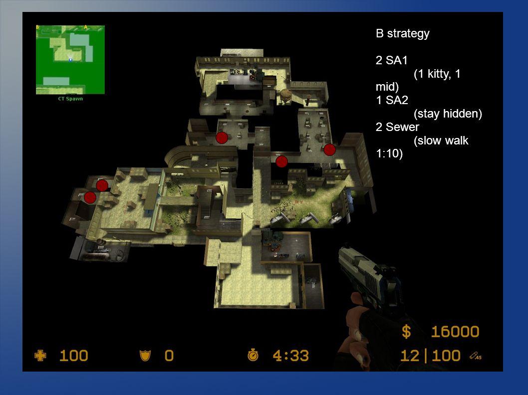 B strategy 2 SA1 (1 kitty, 1 mid) 1 SA2 (stay hidden) 2 Sewer (slow walk 1:10)