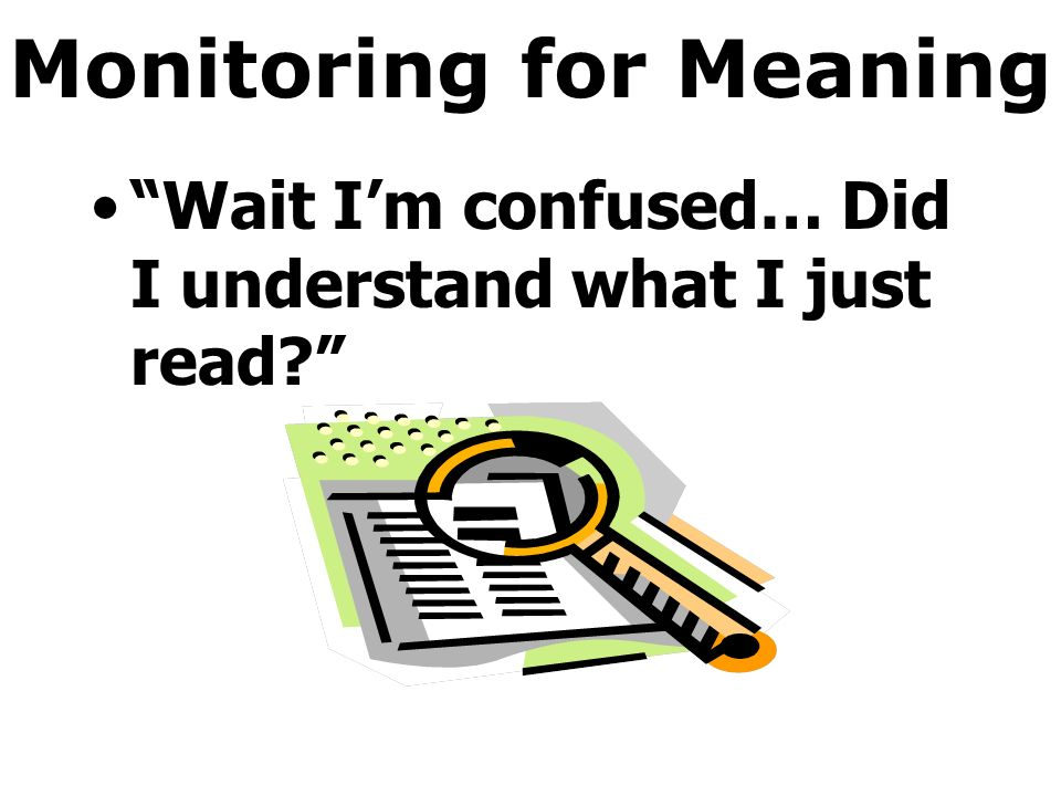 Monitoring for Meaning Wait Im confused… Did I understand what I just read?