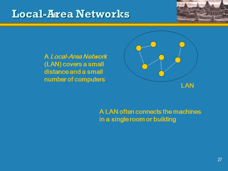 27 Local-Area Networks LAN A Local-Area Network (LAN) covers a small distance and a small number of computers A LAN often connects the machines in a s