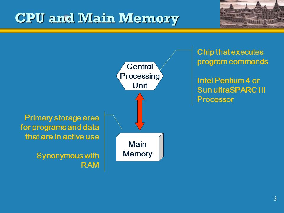 3 CPU and Main Memory Central Processing Unit Main Memory Chip that executes program commands Intel Pentium 4 or Sun ultraSPARC III Processor Primary