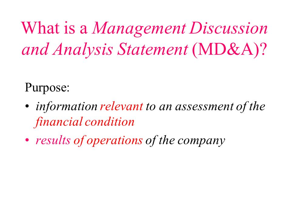 All new disclosure should appear in the Management Discussion & Analysis Statement Mandatory? All?