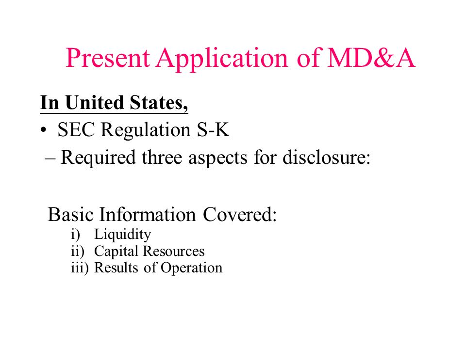 Present Application of MD&A In Hong Kong, Reference for Disclosures in Annual Report of Hong Kong Exchange and Clearing Ltd – may disclose (Not restri