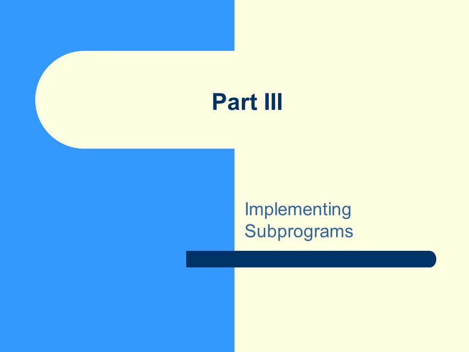 Part III Implementing Subprograms