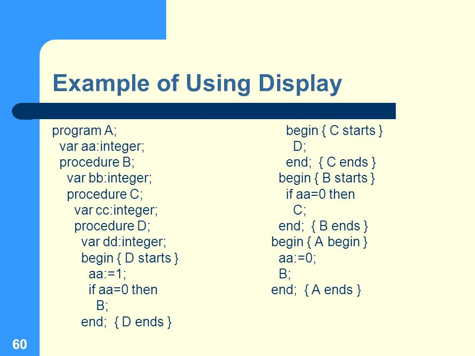 60 Example of Using Display program A; var aa:integer; procedure B; var bb:integer; procedure C; var cc:integer; procedure D; var dd:integer; begin {