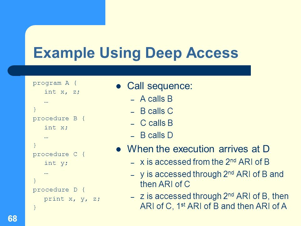 68 Example Using Deep Access program A { int x, z; … } procedure B { int x; … } procedure C { int y; … } procedure D { print x, y, z; } Call sequence: