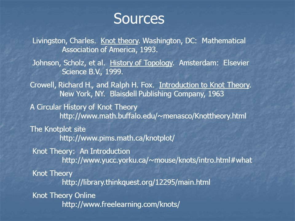 Sources Livingston, Charles. Knot theory. Washington, DC: Mathematical Association of America, 1993. Johnson, Scholz, et al. History of Topology. Amst