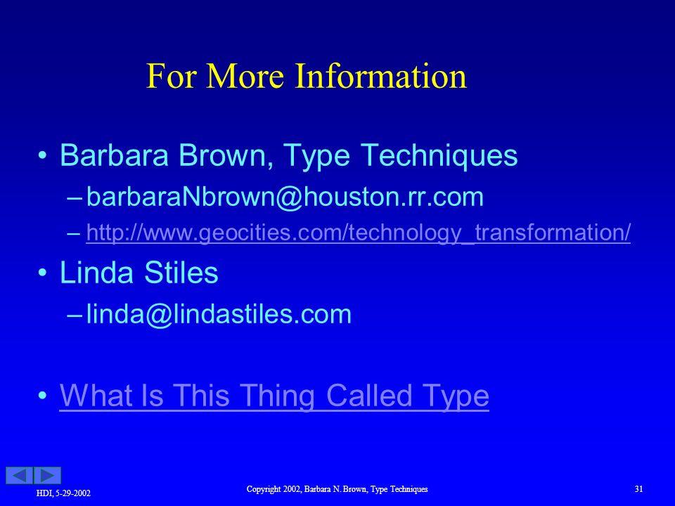 HDI, 5-29-2002 Copyright 2002, Barbara N.