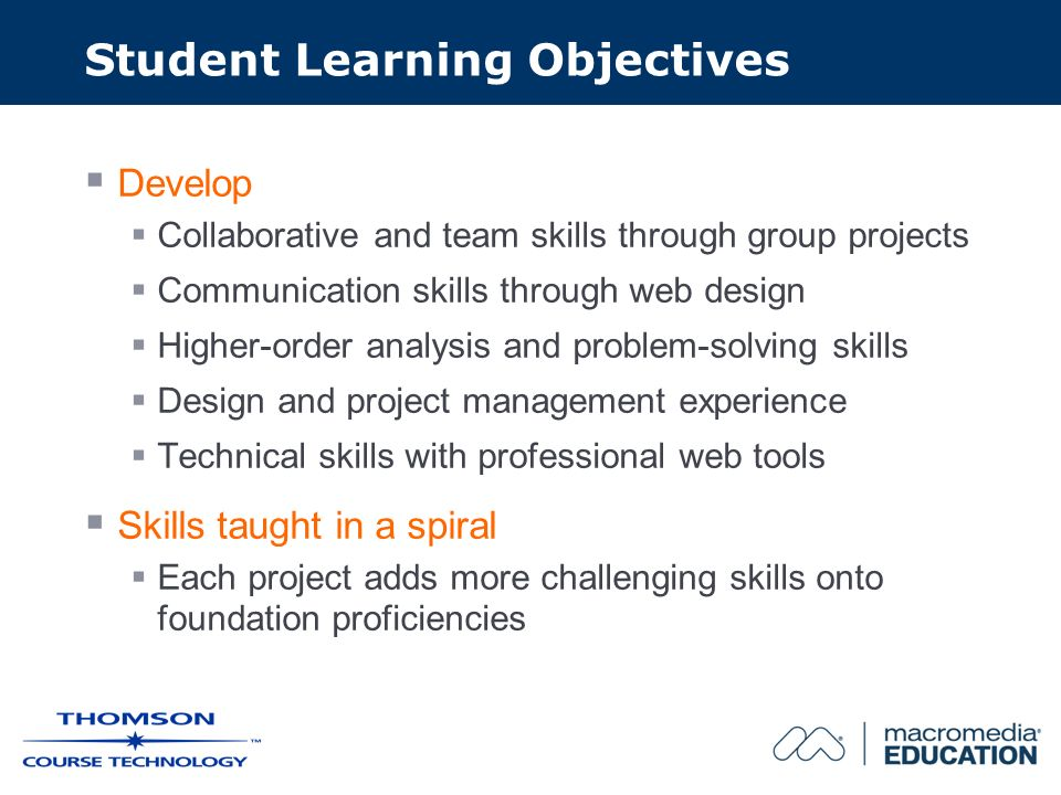 Student Learning Objectives Develop Collaborative and team skills through group projects Communication skills through web design Higher-order analysis and problem-solving skills Design and project management experience Technical skills with professional web tools Skills taught in a spiral Each project adds more challenging skills onto foundation proficiencies