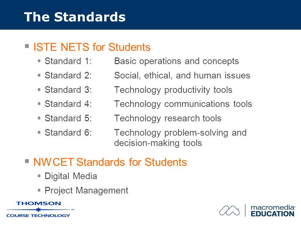 The Standards ISTE NETS for Students Standard 1: Basic operations and concepts Standard 2: Social, ethical, and human issues Standard 3: Technology productivity tools Standard 4: Technology communications tools Standard 5: Technology research tools Standard 6: Technology problem-solving and decision-making tools NWCET Standards for Students Digital Media Project Management