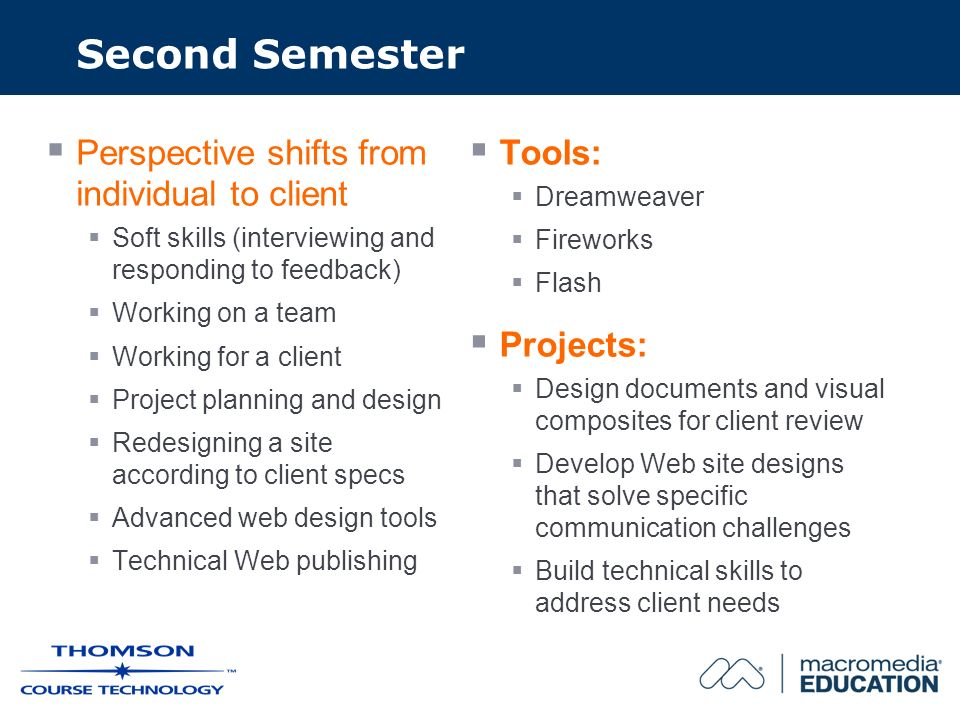 Second Semester Perspective shifts from individual to client Soft skills (interviewing and responding to feedback) Working on a team Working for a client Project planning and design Redesigning a site according to client specs Advanced web design tools Technical Web publishing Tools: Dreamweaver Fireworks Flash Projects: Design documents and visual composites for client review Develop Web site designs that solve specific communication challenges Build technical skills to address client needs