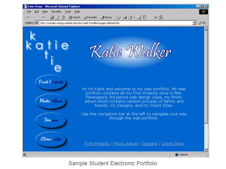 Sample Student Electronic Portfolio
