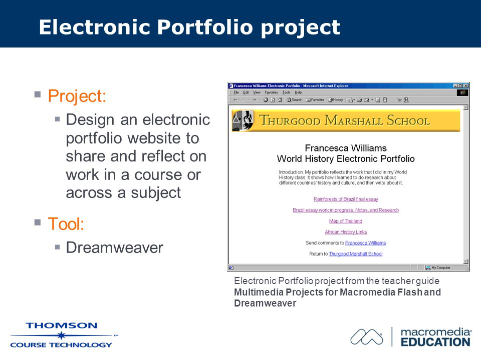 Electronic Portfolio project Project: Design an electronic portfolio website to share and reflect on work in a course or across a subject Tool: Dreamweaver Electronic Portfolio project from the teacher guide Multimedia Projects for Macromedia Flash and Dreamweaver