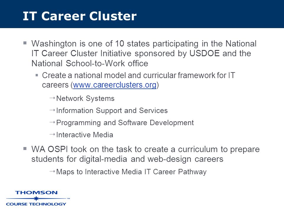 IT Career Cluster Washington is one of 10 states participating in the National IT Career Cluster Initiative sponsored by USDOE and the National School-to-Work office Create a national model and curricular framework for IT careers (www.careerclusters.org)www.careerclusters.org Network Systems Information Support and Services Programming and Software Development Interactive Media WA OSPI took on the task to create a curriculum to prepare students for digital-media and web-design careers Maps to Interactive Media IT Career Pathway