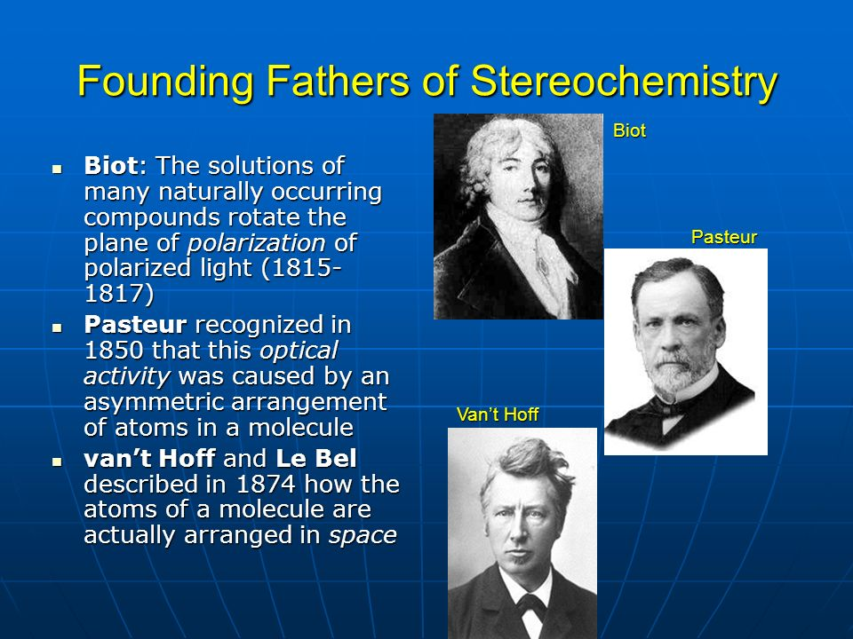 Founding Fathers of Stereochemistry Biot: The solutions of many naturally occurring compounds rotate the plane of polarization of polarized light (181