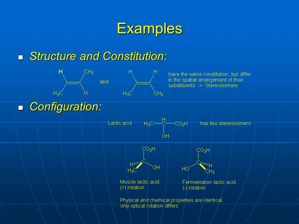 Examples Structure and Constitution: Structure and Constitution: Configuration: Configuration: