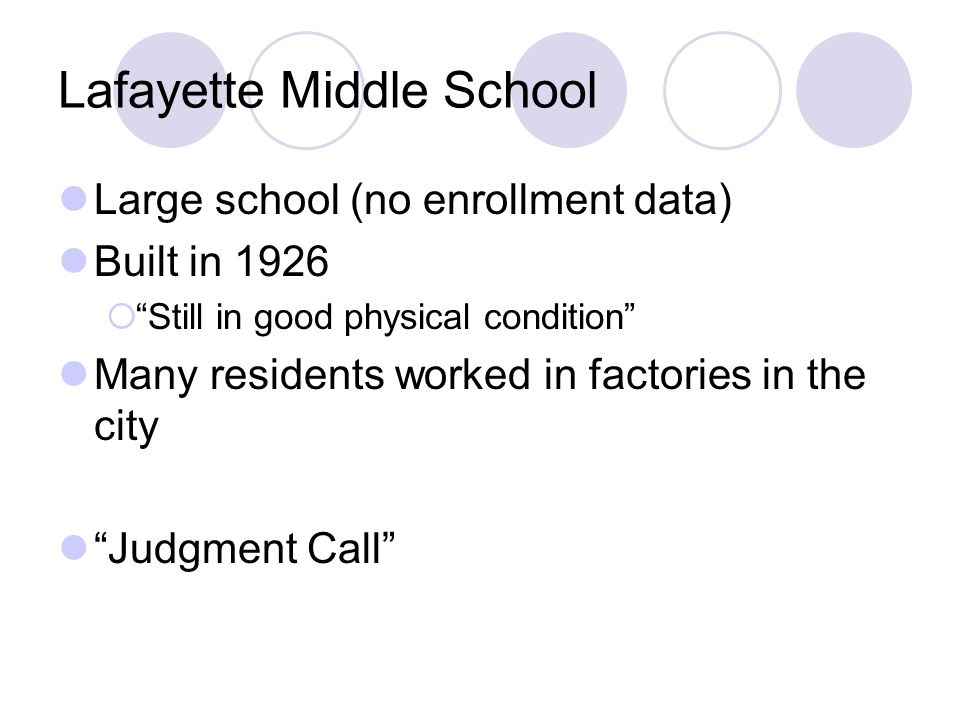 Lafayette Middle School Large school (no enrollment data) Built in 1926 Still in good physical condition Many residents worked in factories in the cit