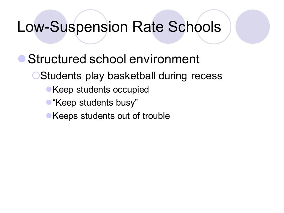 Low-Suspension Rate Schools Structured school environment Students play basketball during recess Keep students occupied Keep students busy Keeps stude