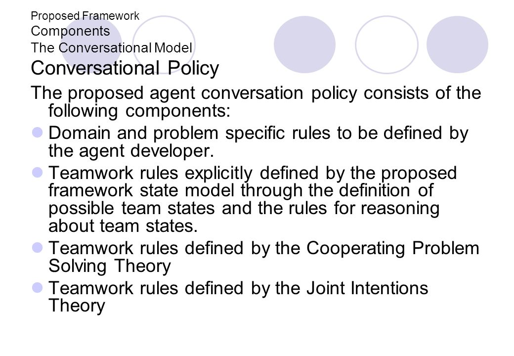 Proposed Framework Components The Conversational Model Conversational Policy The proposed agent conversation policy consists of the following componen
