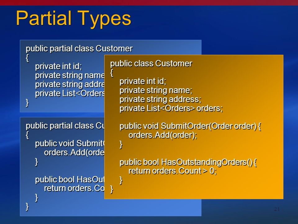 21 Partial Types public partial class Customer { private int id; private int id; private string name; private string name; private string address; private string address; private List orders; private List orders;} public partial class Customer { public void SubmitOrder(Order order) { public void SubmitOrder(Order order) { orders.Add(order); orders.Add(order); } public bool HasOutstandingOrders() { public bool HasOutstandingOrders() { return orders.Count > 0; return orders.Count > 0; }} public class Customer { private int id; private int id; private string name; private string name; private string address; private string address; private List orders; private List orders; public void SubmitOrder(Order order) { public void SubmitOrder(Order order) { orders.Add(order); orders.Add(order); } public bool HasOutstandingOrders() { public bool HasOutstandingOrders() { return orders.Count > 0; return orders.Count > 0; }}