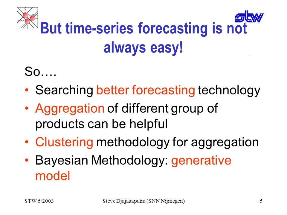 STW 6/2003Steve Djajasaputra (SNN Nijmegen)4 The Answer is… YES! An Example of Success Story: Bayesian statistical technology for predicting newspaper
