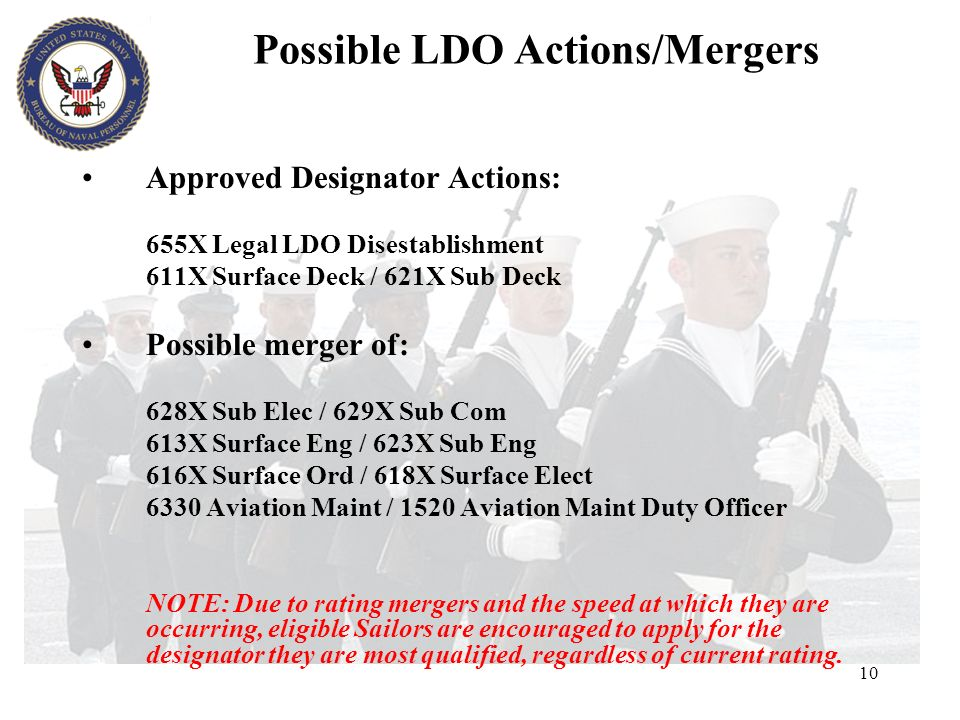10 Possible LDO Actions/Mergers Approved Designator Actions: 655X Legal LDO Disestablishment 611X Surface Deck / 621X Sub Deck Possible merger of: 628