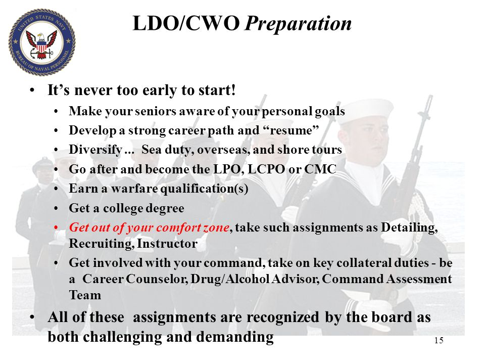 15 Its never too early to start! Make your seniors aware of your personal goals Develop a strong career path and resume Diversify... Sea duty, oversea