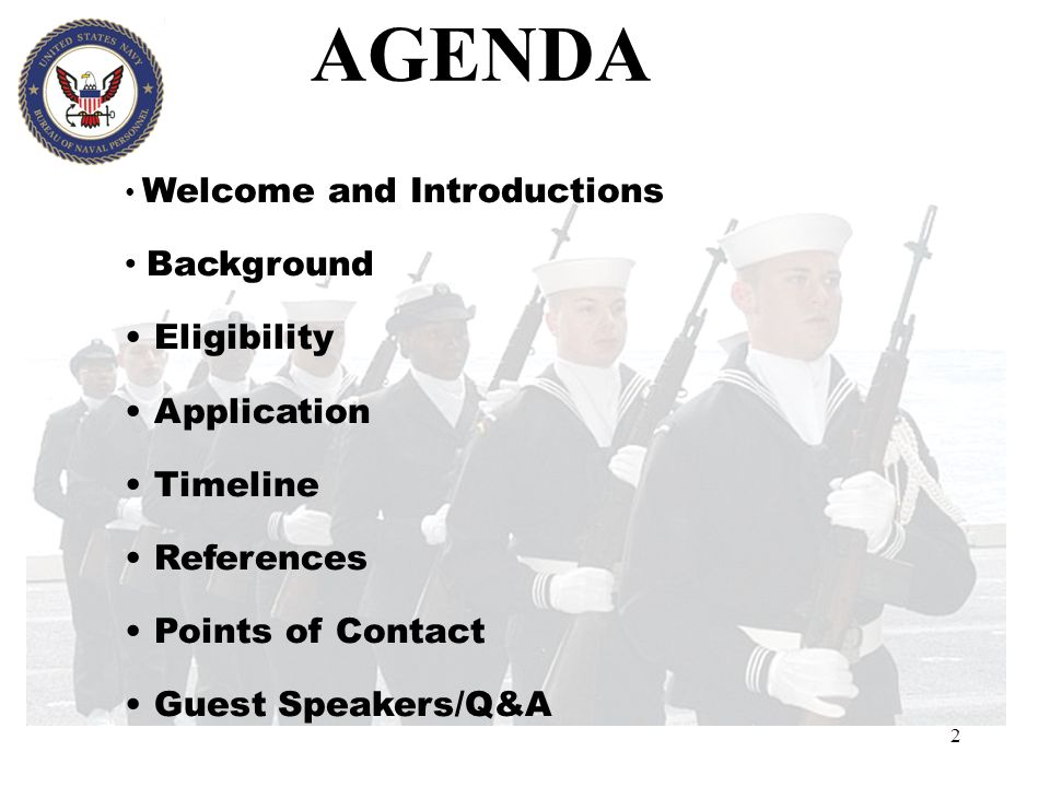 2 AGENDA Welcome and Introductions Background Eligibility Application Timeline References Points of Contact Guest Speakers/Q&A