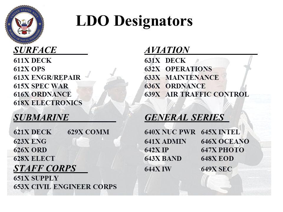 LDO Designators SURFACEAVIATION 611XDECK 631X DECK 612XOPS 632X OPERATIONS 613XENGR/REPAIR 633X MAINTENANCE 615XSPEC WAR 636X ORDNANCE 616XORDNANCE 63